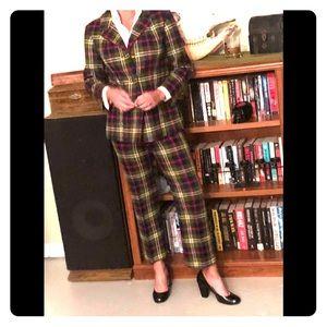 VTG 60s-70s Plaid Wool Bellbottom Pant Suit